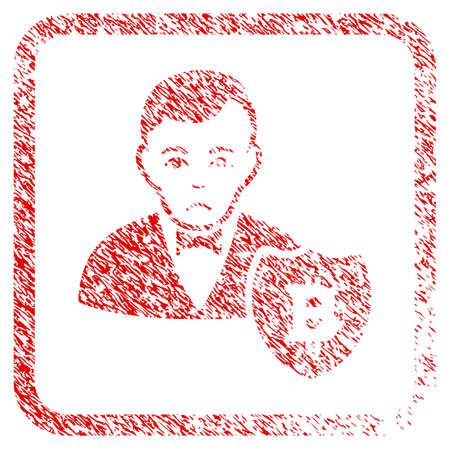 Bitcoin Protector rubber seal stamp watermark. Person face has affliction sentiment. Scratched red stamp imitation of bitcoin protector.