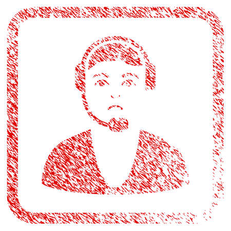 Call Center Guy rubber seal stamp watermark. Person face has mourning emotions. Scratched red stamp imitation of call center guy. Stock Photo