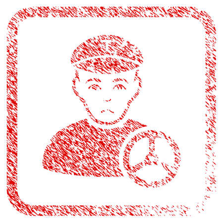 Taxi Driver rubber seal stamp imitation. Person face has unhappy emotions. Scratched red sign of taxi driver. Icon symbol with grunge design and corrosion texture inside rounded square.
