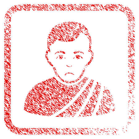 Patrician Citizen rubber seal stamp imitation. Human face has depression sentiment. Scratched red sticker of patrician citizen. Stock Photo