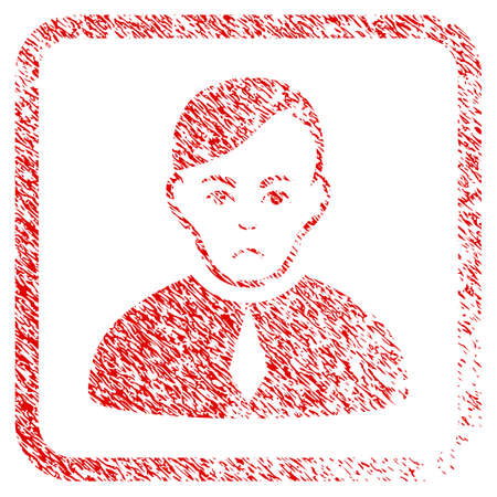 Loyer rubber seal stamp imitation. Human face has mourning mood. Scratched red emblem of loyer. Icon symbol with grunge design and dust texture in rounded square frame.