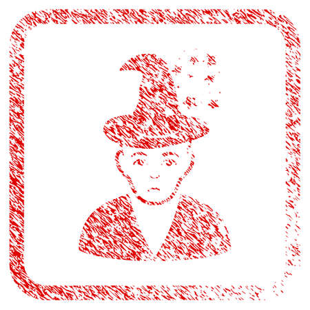 Magic Master rubber seal stamp imitation. Human face has depression sentiment. Scratched red sticker of magic master. Stock Photo