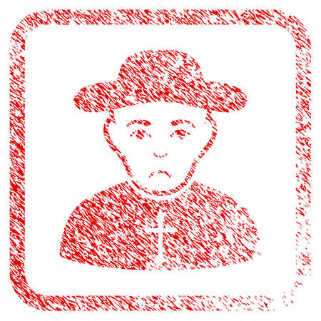 Christian Priest rubber seal stamp watermark. Person face has sadly emotion. Scratched red sign of christian priest.