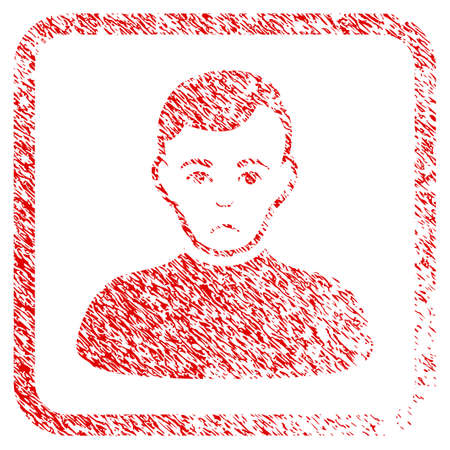 Boy rubber seal stamp imitation. Human face has dolor sentiment. Scratched red sign of boy. Icon symbol with grunge design and dust texture in rounded square. Stock Photo