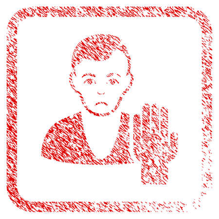 Elector rubber seal stamp watermark. Human face has unhappy emotion. Scratched red sticker of elector. Icon symbol with grunge design and corrosion texture in rounded squared frame. Stock Photo