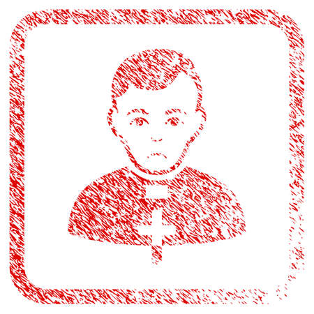 Catholic Priest rubber seal stamp watermark. Person face has sadly feeling. Scratched red emblem of catholic priest. Reklamní fotografie