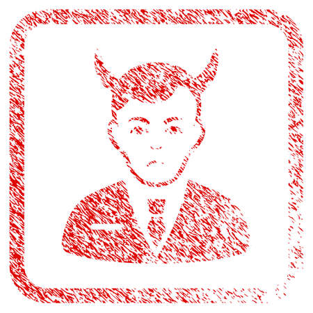 Satan rubber seal stamp watermark. Person face has dolor feeling. Scratched red stamp imitation of satan. Icon symbol with grunge design and corrosion texture inside rounded square frame.