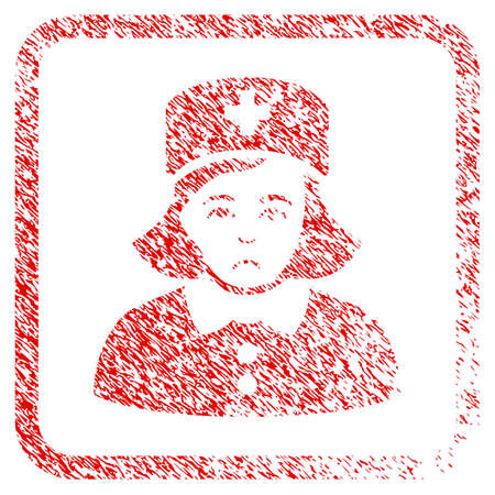 Nurse rubber seal stamp imitation. Human face has sadly expression. Scratched red sign of nurse. Icon symbol with grunge design and corrosion texture inside rounded square.