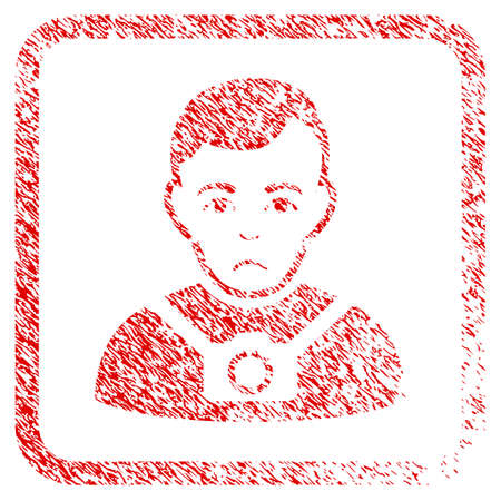 Photographer rubber seal stamp watermark. Person face has sadly emotions. Scratched red sign of photographer. Icon symbol with grunge design and corrosion texture inside rounded rectangle. Stock Photo