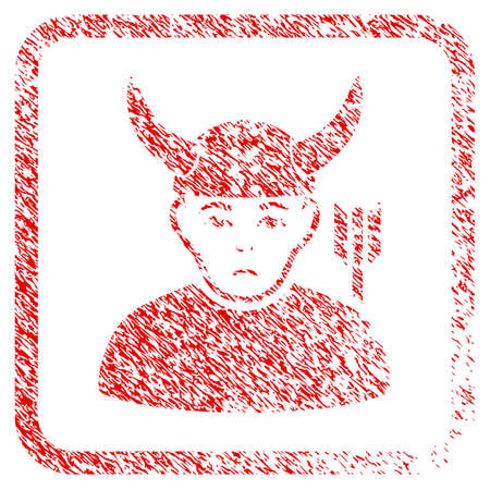 Horned Warrior rubber seal stamp watermark. Person face has stress sentiment. Scratched red sign of horned warrior. Icon symbol with grunge design and dust texture in rounded square.