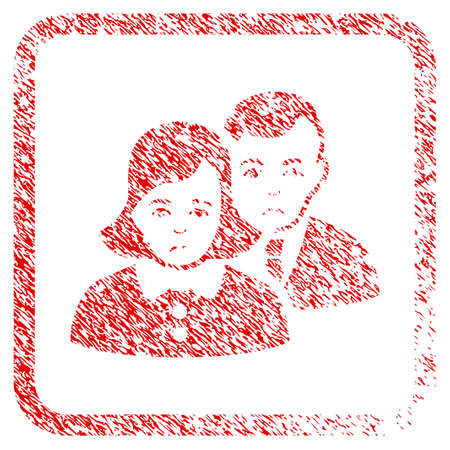 People rubber seal stamp imitation. Human face has depression emotions. Scratched red sticker of people. Icon symbol with grunge design and dirty texture in rounded rectangle.