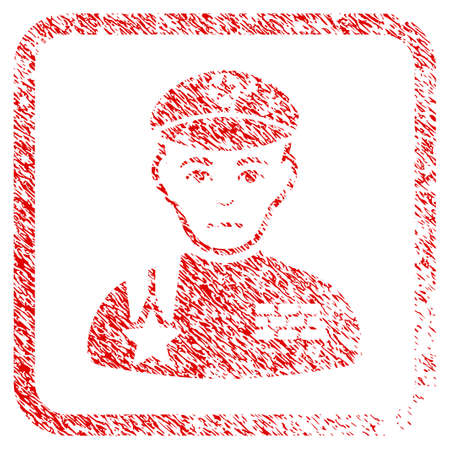 Army General rubber seal stamp imitation. Person face has dolour mood. Scratched red emblem of army general. Icon symbol with grunge design and dirty texture inside rounded square.
