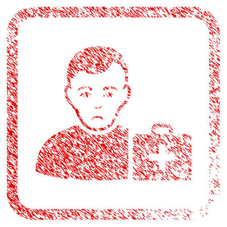 First-Aid Man rubber seal stamp watermark. Person face has depressed sentiment. Scratched red sign of first-aid man. Icon symbol with grunge design and dust texture in rounded frame. Stock Photo