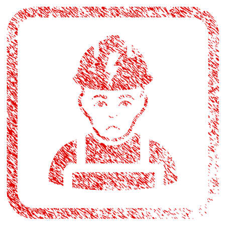 Electrician rubber seal stamp watermark. Person face has sadness expression. Scratched red emblem of electrician. Icon symbol with grunge design and dirty texture inside rounded rectangle.