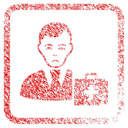 First-Aid Manager rubber seal stamp watermark. Human face has affliction sentiment. Scratched red sign of first-aid manager.