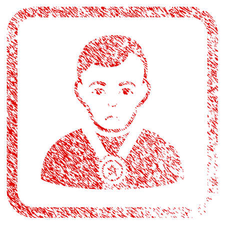 Champion rubber seal stamp watermark. Person face has stress sentiment. Scratched red stamp imitation of champion. Icon symbol with grunge design and corrosion texture in rounded square.