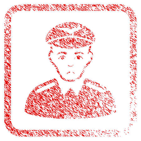 Aviator rubber seal stamp watermark. Person face has dolour sentiment. Scratched red sticker of aviator. Icon symbol with grunge design and unclean texture inside rounded frame.