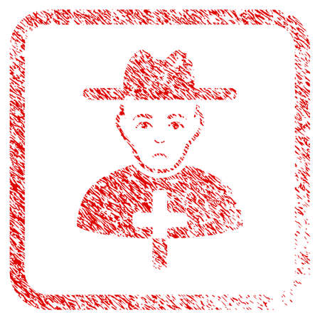 Catholic Priest rubber seal stamp imitation. Human face has grief emotions. Scratched red emblem of catholic priest. Icon symbol with grunge design and dirty texture in rounded squared frame.