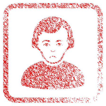 Radioman rubber seal stamp imitation. Human face has affliction mood. Scratched red sign of radioman. Icon symbol with grunge design and dirty texture inside rounded square. Stock Photo