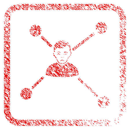 Man Links rubber seal stamp imitation. Person face has mourning sentiment. Scratched red sign of man links. Icon symbol with grunge design and corrosion texture inside rounded frame. Stock Photo