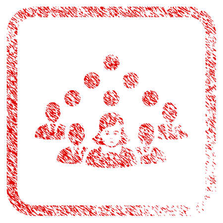 Staff Team rubber seal stamp imitation. Person face has grief emotions. Scratched red emblem of staff team. Icon symbol with grunge design and dust texture in rounded rectangle. Stock Photo
