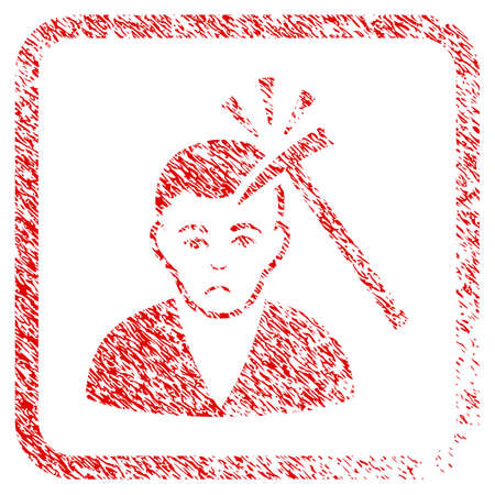 Murder With Hammer rubber seal stamp imitation. Person face has problem sentiment. Scratched red emblem of murder with hammer.