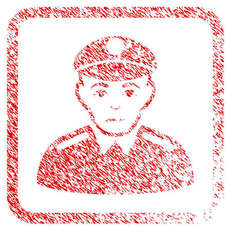 Soldier rubber seal stamp imitation. Person face has grief emotion. Scratched red emblem of soldier. Icon symbol with grunge design and dust texture in rounded squared frame. Stock Photo