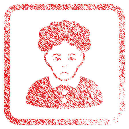 Brunette Woman rubber seal stamp imitation. Human face has stress emotion. Scratched red sign of brunette woman. Icon symbol with grunge design and unclean texture inside rounded rectangle.