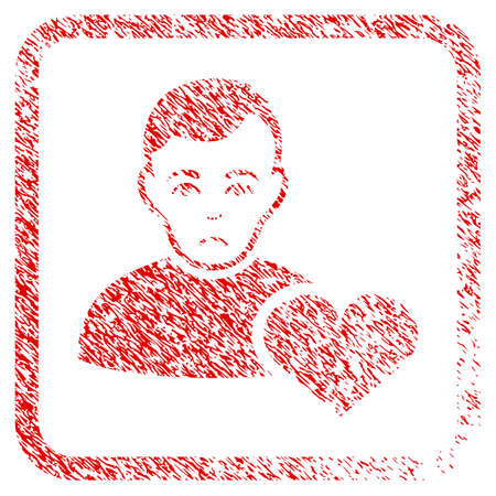 User Favourites Heart rubber seal stamp watermark. Person face has sorrow emotions. Scratched red emblem of user favourites heart.