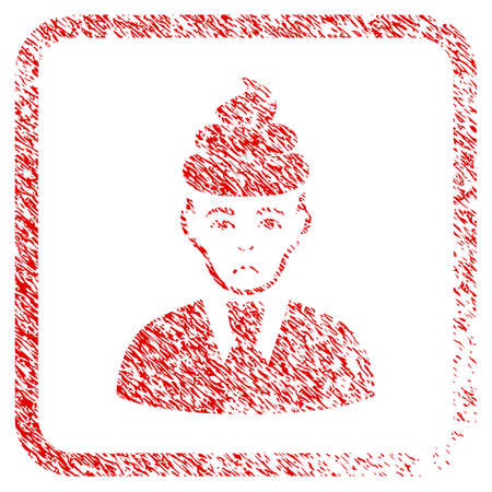 Shit Guy rubber seal stamp imitation. Human face has pitiful feeling. Scratched red sign of shit guy. Icon symbol with grunge design and corrosion texture inside rounded rectangle. Stock Photo