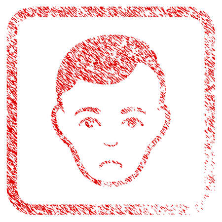 Man Face rubber seal stamp watermark. Person face has desperate mood. Scratched red stamp imitation of man face. Icon symbol with grunge design and dust texture in rounded rectangle. Stock Photo