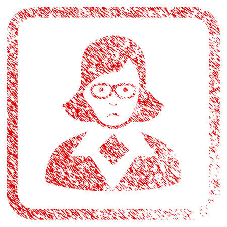 Teacher Lady rubber seal stamp imitation. Person face has dolor emotions. Scratched red sticker of teacher lady. Icon symbol with grunge design and dust texture in rounded square frame. Stock Photo