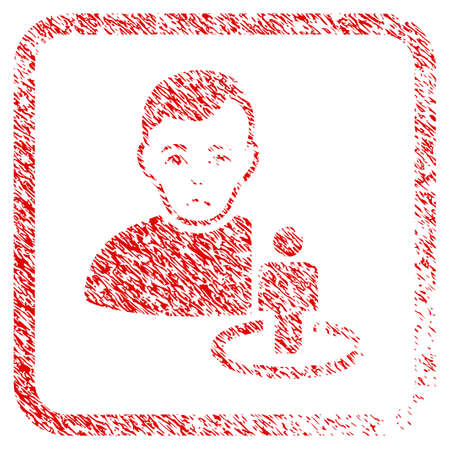 Portal Moderator rubber seal stamp imitation. Human face has mourning mood. Scratched red sign of portal moderator. Icon symbol with grunge design and dust texture in rounded square.
