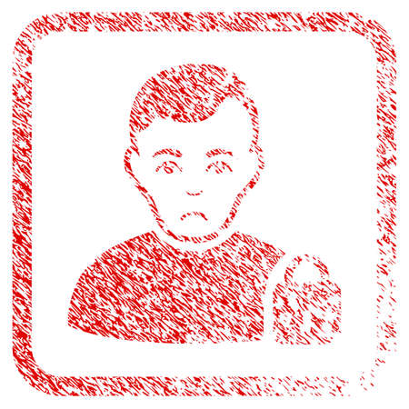 User Locked rubber seal stamp watermark. Human face has mourning emotion. Scratched red stamp imitation of user locked. Icon symbol with grunge design and dust texture inside rounded frame.