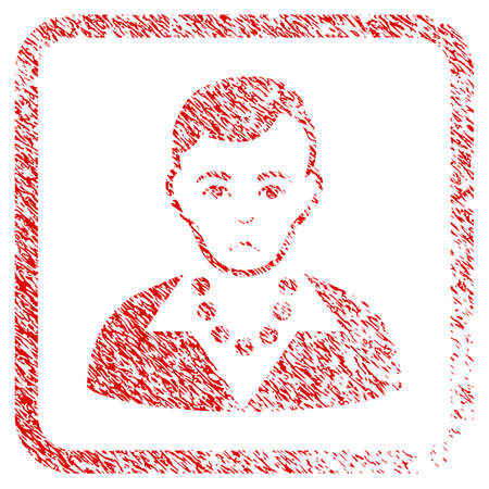 Trendy Guy rubber seal stamp imitation. Person face has dolor emotions. Scratched red sticker of trendy guy. Icon symbol with grunge design and corrosion texture inside rounded squared frame. Stock Photo