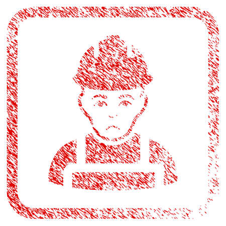 Builder rubber seal stamp imitation. Person face has problem emotions. Scratched red sign of builder. Icon symbol with grunge design and unclean texture inside rounded squared frame.