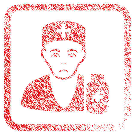 Apothecary Doctor rubber seal stamp watermark. Human face has pitiful feeling. Scratched red sticker of apothecary doctor.