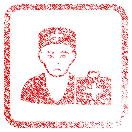 First-Aid Doctor rubber seal stamp watermark. Human face has problem feeling. Scratched red emblem of first-aid doctor.