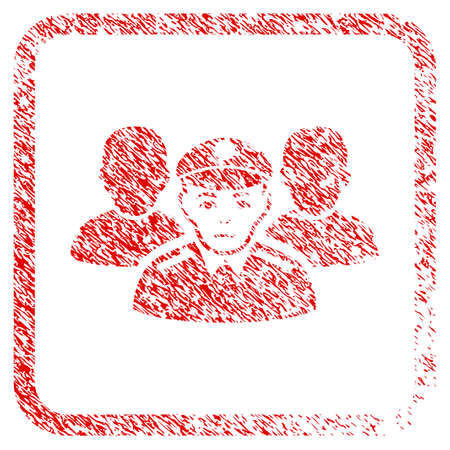 Army Team rubber seal stamp imitation. Person face has sorrow mood. Scratched red sign of army team. Icon symbol with grunge design and dust texture in rounded rectangle. Stock Photo
