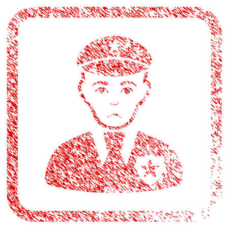 Sheriff rubber seal stamp watermark. Person face has pitiful expression. Scratched red sign of sheriff. Icon symbol with grunge design and unclean texture in rounded frame.