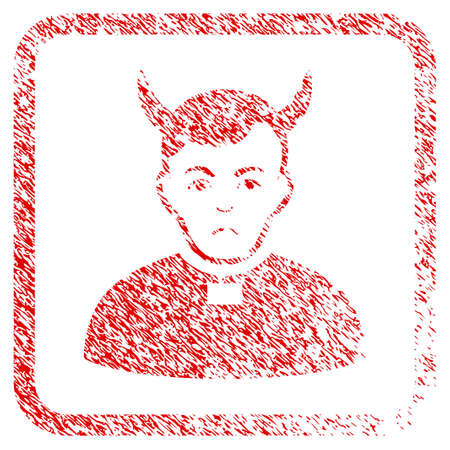 Devil Priest rubber seal stamp watermark. Person face has mourning emotions. Scratched red emblem of devil priest. Icon symbol with grunge design and dust texture inside rounded squared frame.