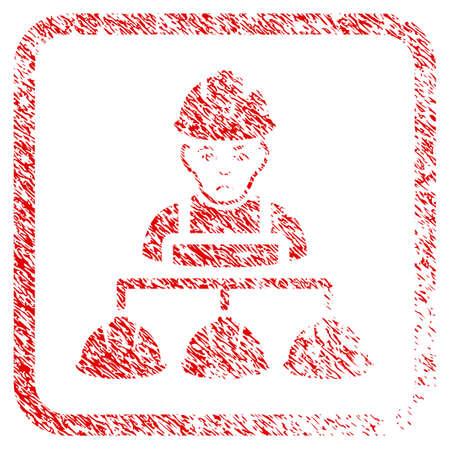 Builder Management rubber seal stamp watermark. Human face has sadly emotion. Scratched red sticker of builder management.