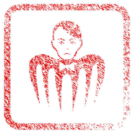 Spectre Man rubber seal stamp imitation. Person face has stress mood. Scratched red sticker of spectre man. Icon symbol with grunge design and dust texture inside rounded rectangle.