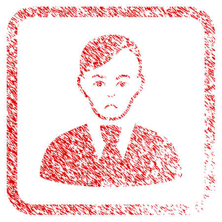 Clerk rubber seal stamp watermark. Human face has problem mood. Scratched red stamp imitation of clerk. Icon symbol with grunge design and unclean texture inside rounded frame.