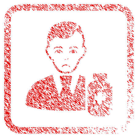 Medical Pharmacist rubber seal stamp watermark. Human face has grief sentiment. Scratched red sign of medical pharmacist.