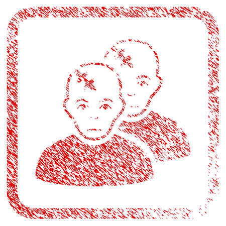 Patients rubber seal stamp imitation. Person face has sadness expression. Scratched red stamp imitation of patients. Icon symbol with grunge design and unclean texture in rounded rectangle. Stock Photo