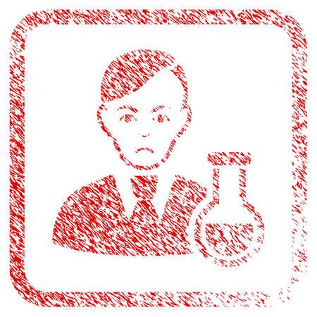 Chemist rubber seal stamp imitation. Person face has grief emotion. Scratched red sign of chemist. Icon symbol with grunge design and dust texture in rounded rectangle.