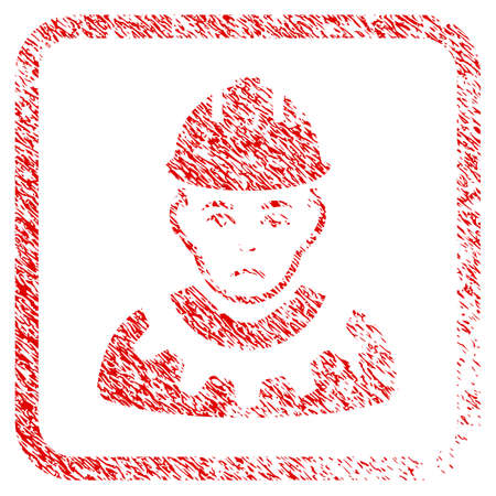 Serviceman rubber seal stamp watermark. Human face has desperate sentiment. Scratched red sign of serviceman. Icon symbol with grunge design and unclean texture inside rounded squared frame.