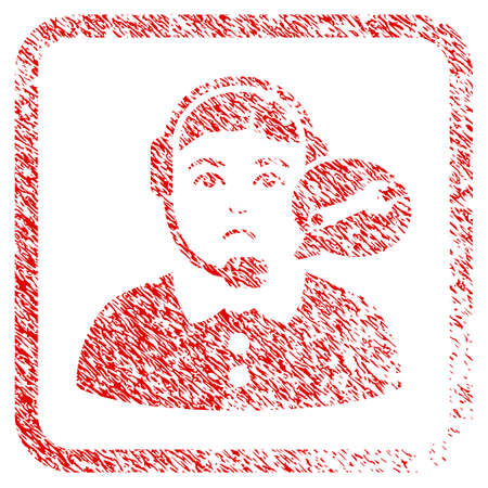 Service Center Woman rubber seal stamp imitation. Human face has sadness sentiment. Scratched red sign of service center woman.