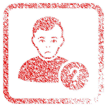 User Status rubber seal stamp watermark. Person face has desperate mood. Scratched red stamp imitation of user status. Icon symbol with grunge design and dust texture in rounded square.